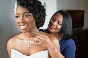 Bride and mother on her wedding day