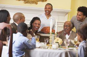 Family at thanksgiving dinner table