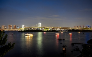 Rainbow bridge and Tokyo tower at night