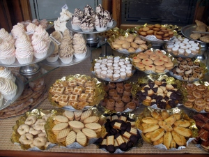 Sweet baked items for sale in the window of a bakery in Barcelona, Spain