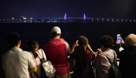 People Visit Hong Kong-Zhuhai-Macao Bridge In Zhuhai