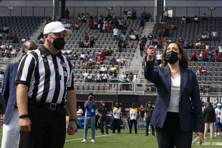 US Vice President Kamala Harris Tosses The Coin