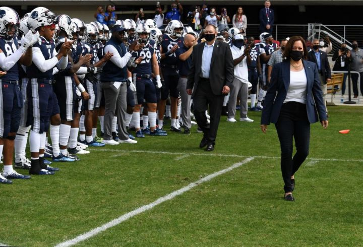 US Vice President Kamala Harris With Howard Football Players
